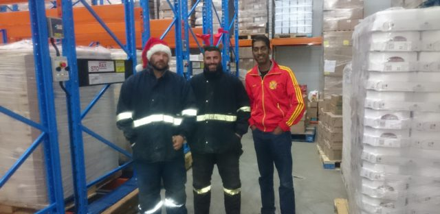 Santa and Rudolf  deliver a mobile Christmas gift to Dhaya Govender of Sticks and Licks