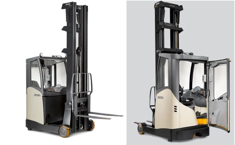 Crown reach truck with cold store cabin
