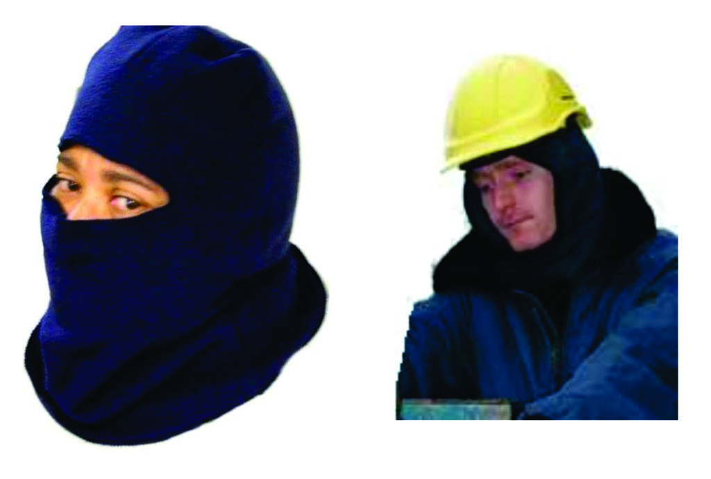 Left: A full face balaclava which reduces the exposed skin to a minimum. Right: Insulated hardhat for cold conditions together with insulated liner. Face can also be covered with a mask.