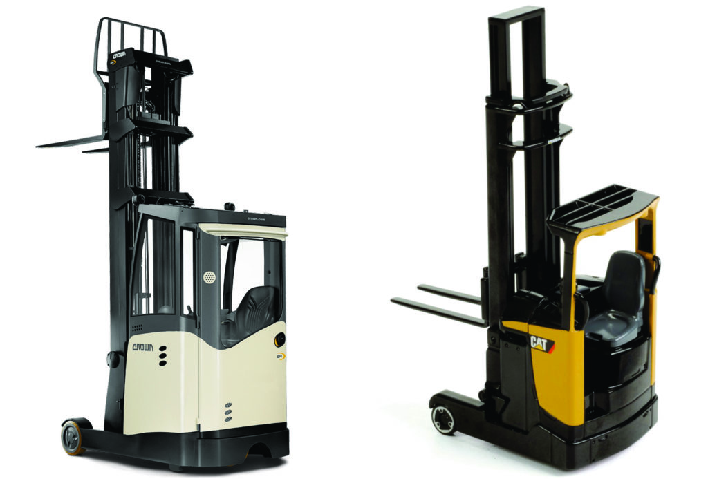 Left: Reach truck with a heated cab Right: Reach truck without a heated cab